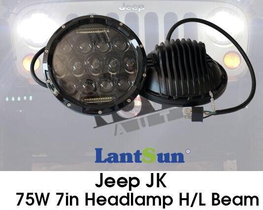 جفت J105 دور 7 اینچ 75w چراغهای جلو برای - چراغ های اتومبیل