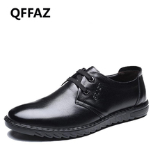 QFFAZ 2018 New Summer Genuine Leather Men Shoes Casual Breathable Shoes Leather Shoes Breathable For Male Footwear Men's Flats