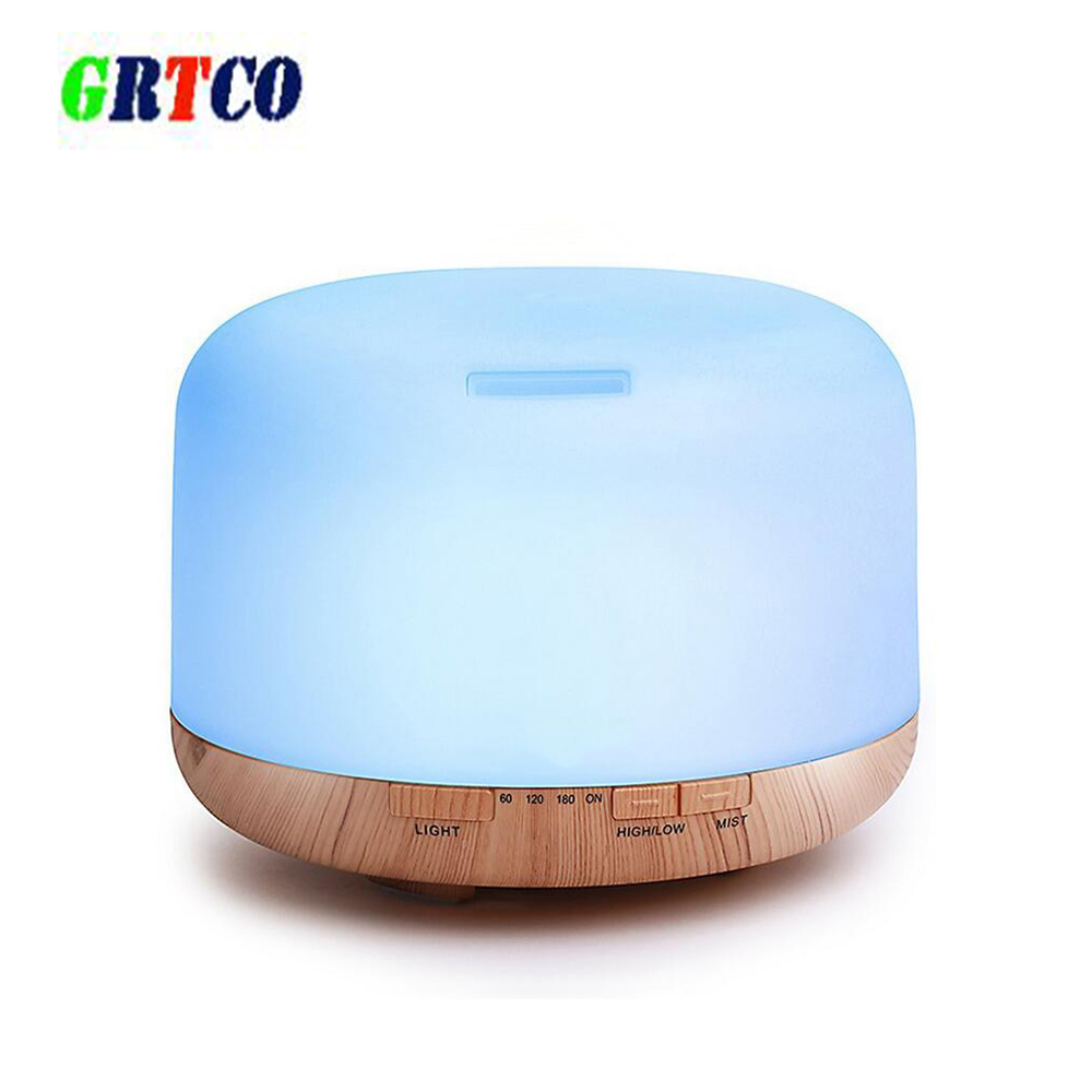 GRTCO 500ml Air Humidifier Essential Oil Diffuser Aroma Lamp Aromatherapy 7 Color Wood Grain Electric Aroma Diffuser Mist Maker vintage wood grain color block flannel rug