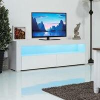 Giantex Гостиная ТВ клетьевого шкаф консоли мебель с светодиодный полки и ящики современный белый ТВ стенд HW56643WH +