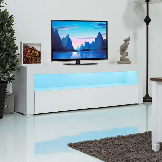 Giantex Living Room Tv Stand Unit Cabinet Console Furniture With Led Shelves And Drawers Modern White
