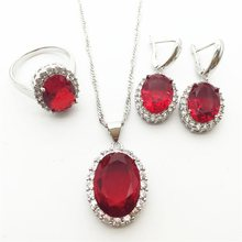 2015 New ROSE Garnet Crystal 925 Silver Jewelry Sets For Women Earrings/Necklace/Pendant Ring Size 6 7 8 9 Free shipping(China)