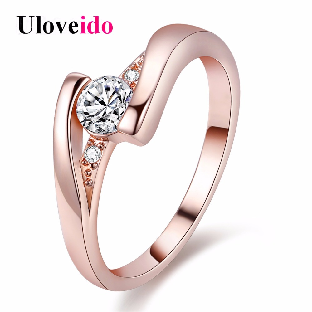 Zirkon Ruby Crystal Fashion Silver Plated CZ Diamond Jewelry Wedding Rings Rose Gold Plated Charming Jewellery Women Bijoux J045