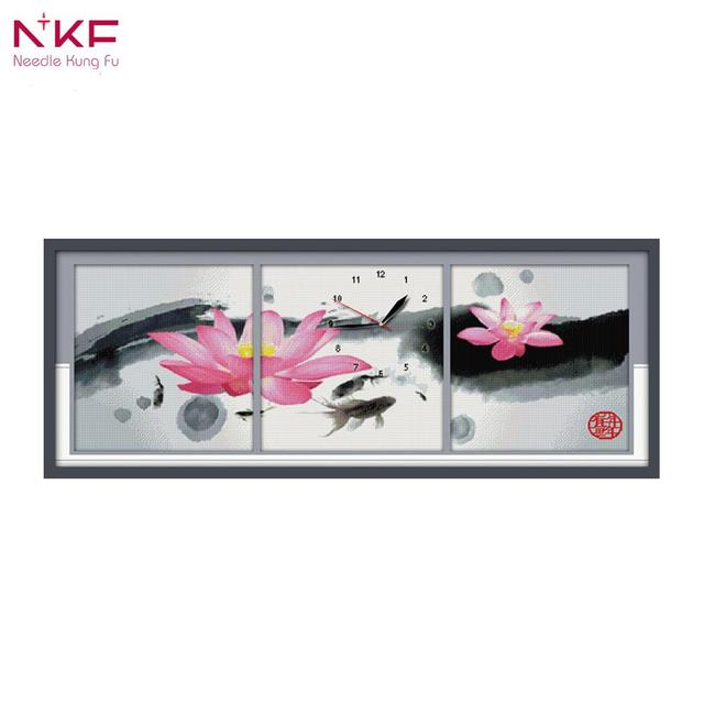 NKF 14CT 11CT Stamped and Counted The Traditional Chinese Painting Lotus Cross Stitch For Home Decoration G038
