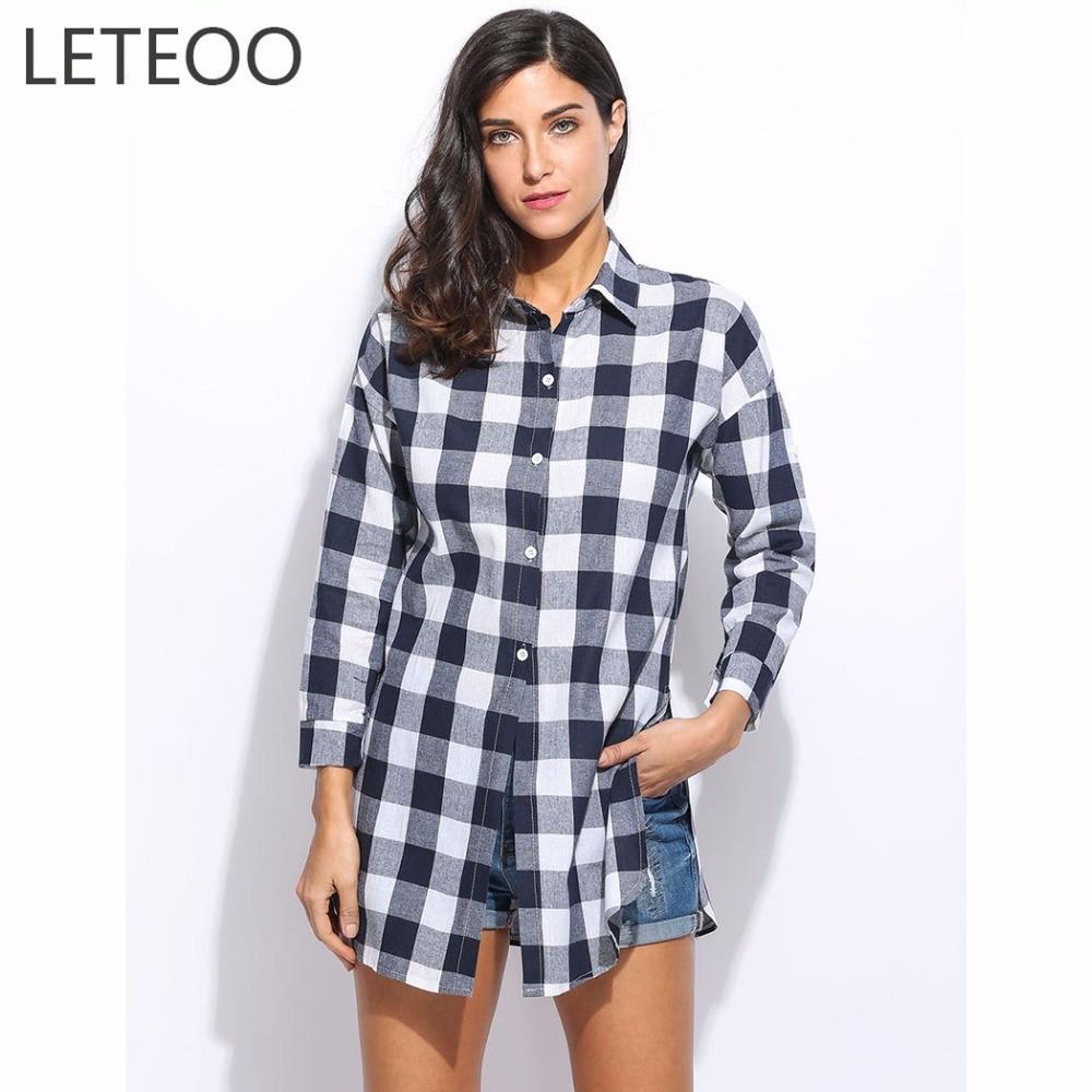 Shirt design 2017 female - 2017 Spring Summer Casual Plaid Shirt Women Long Sleeve Turn Down Collar Long Blouse Cotton