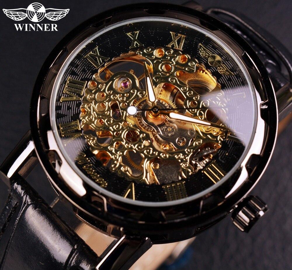 e186f2ffe9fb Ganador negro oro masculino reloj hombres Relogios esqueleto Mens relojes  Top marca de lujo Montre reloj de cuero hombres reloj mecánico en Relojes  ...