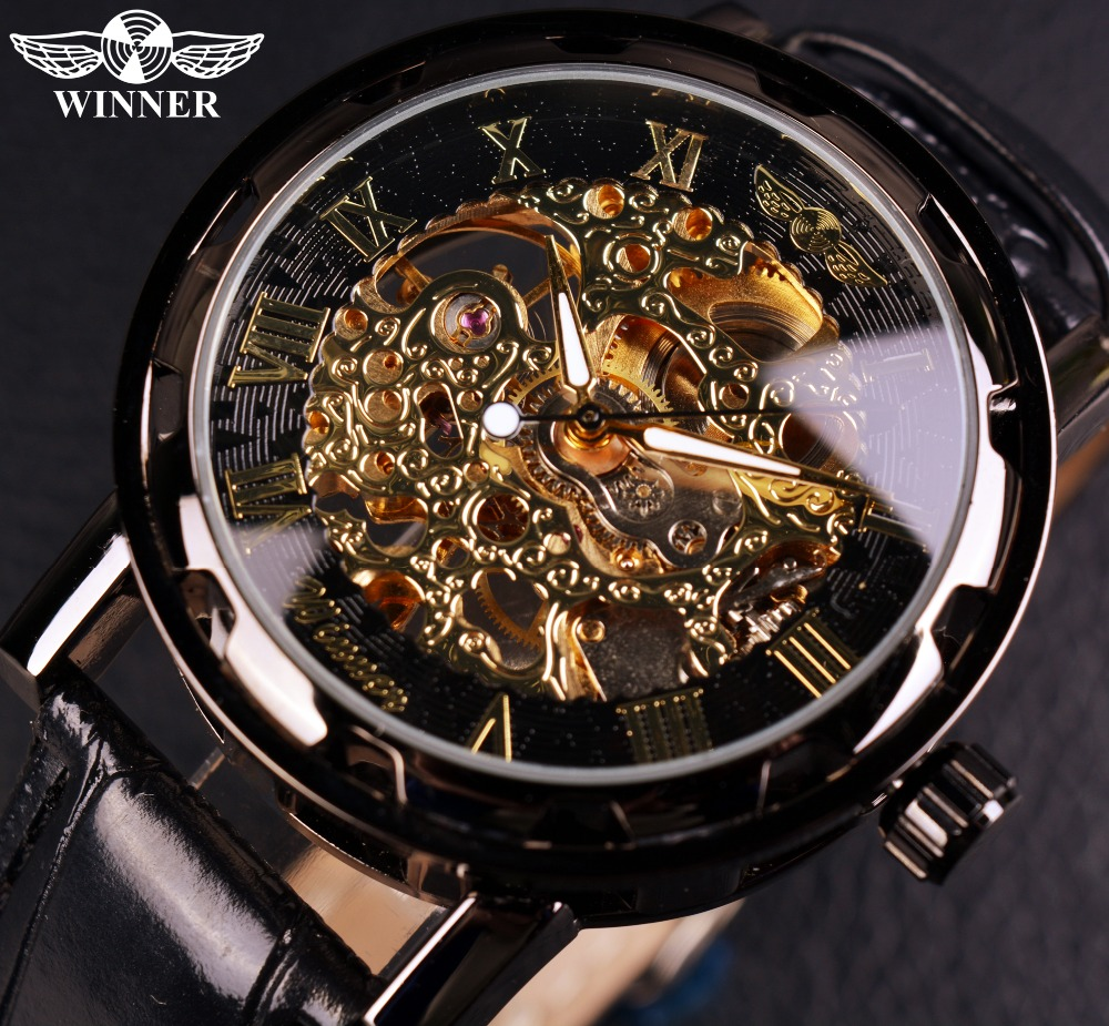 все цены на Winner Black Gold Male Clock Men Relogios Skeleton Mens Watches Top Brand Luxury Montre Leather Wristwatch Men Mechanical Watch