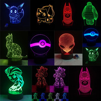 New Christmas Gifts Anime Cartoon 3D Visual LED Nightlight Touch USB Table Lampara Illusion Mood Dimming