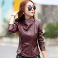 2017 New Fashion Women Leather Jacket clothes Long Sleeve Korean version the Slim PU Women Autunmn Jacket Size Leather Jackets W