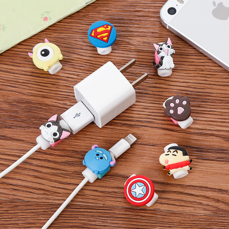 1pcs Cute Cartoon Animal Figure 8 Pin USB Data Cable Winder Cover Protector Charging