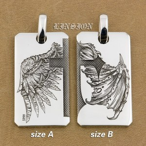 Image 2 - LINSION Handmade 999 Pure Silver Angel Wing Devil Wing 2 Sides Charms Pendant 9X021