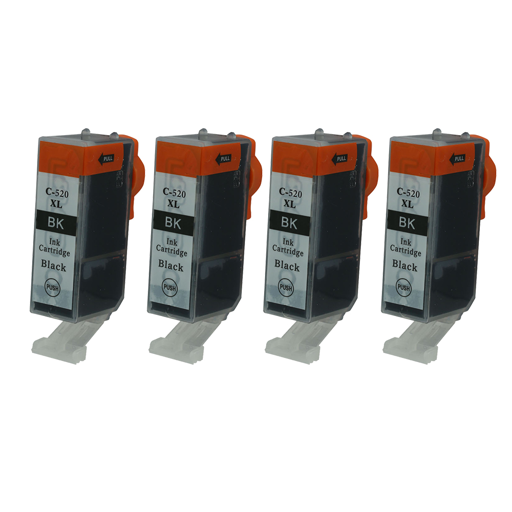 4PK PGI-520 Large Black <font><b>Ink</b></font> Cartrdige For <font><b>Canon</b></font> MP540 MP550 MP560 MP620 <font><b>MP630</b></font> MP640 MP980 MP990 MX860 MX870 IP3600 IP4600 IP4700 image