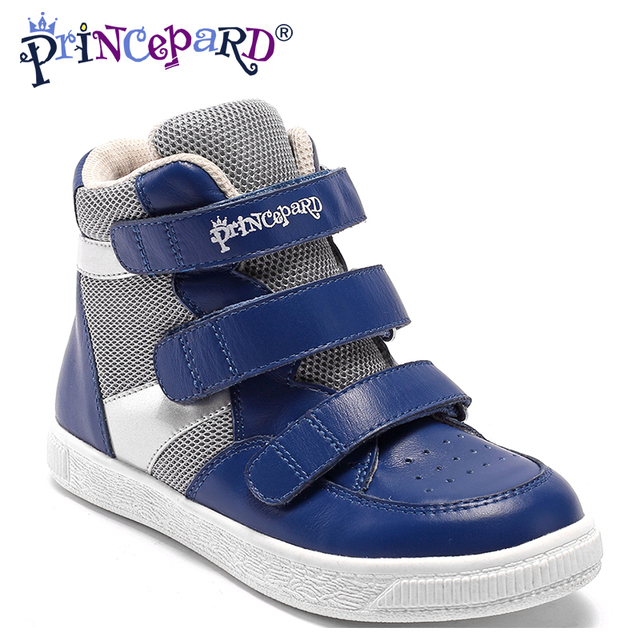 Princepard 2018 New navy pink genuie leather kids orthopedic shoes  sneakers orthopedic shoes for children 21-36 size