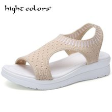 Lightweight Fashion Wedge Ladies Sandals Woven Sports Women's Summer Shoes Black Peep Toe 2019 Women Shoes Big Size 43 44 45(China)