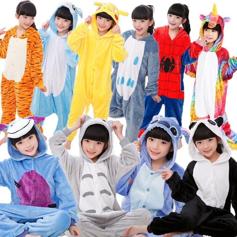 Kids Kigurumi Children pajamas Winter Flannel Animal pajamas one piece Rabbit Totoro Stitch Panda Cosplay baby Boy girl pyjamas    -