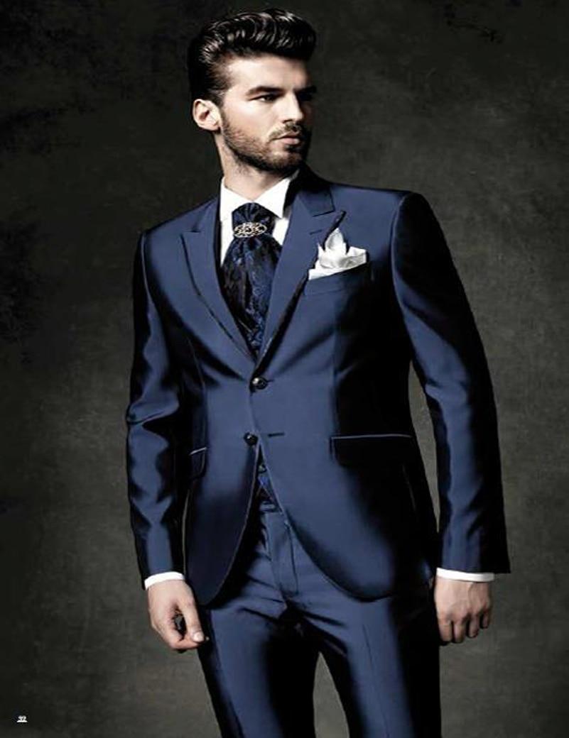 Custom Made New Style Groom Tuxedos Peak Lapel Men\'s Suit Shiny Navy ...