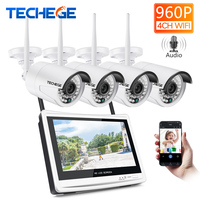 Techege 4CH Wireless 960P NVR Kit HD 12 LCD Monitor 4CH wifi NVR Security 1.3MP Audio WIFI camera CCTV Camera System APP remote