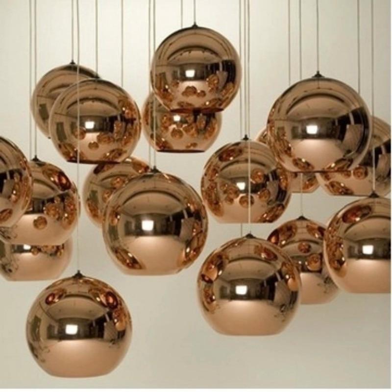 Modern brief Plated bronze glass ball pendant light DIY combination home decoration living room E27 bulb golden LED lighting