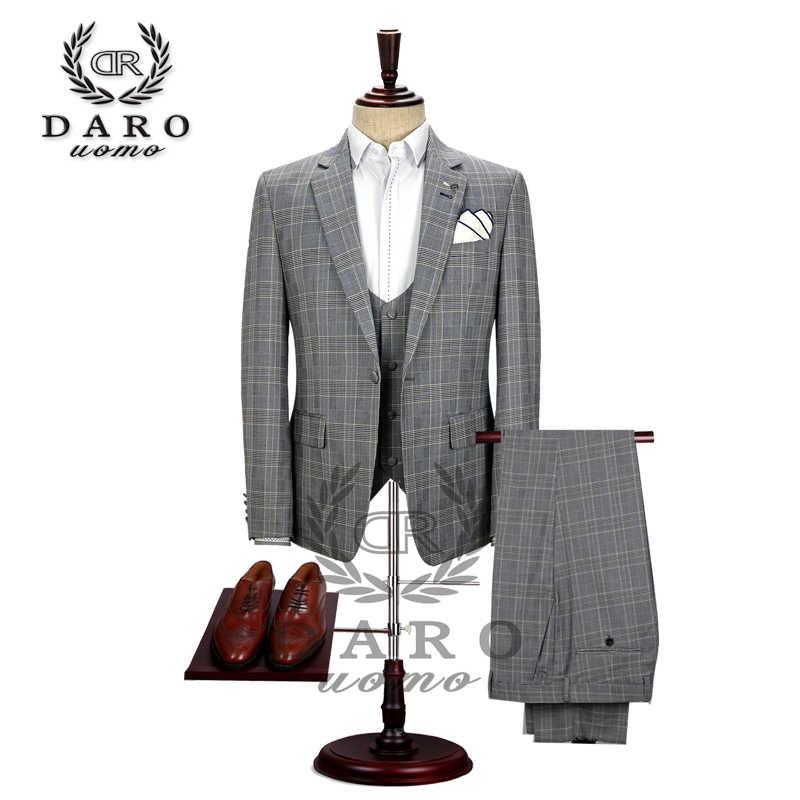 Даро 2019 новый мужской костюм комплект из 3 предметов смокинг Slim Fit для свадьбы вечерний костюм Блейзер брюки и жилет DAROV8189
