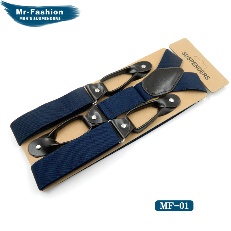 1 Pair Adjustable Socks Straps Men-Black Cross-Border Supply 6 Clip Button Leisure Men's Strap High Quality Adult Suspenders But