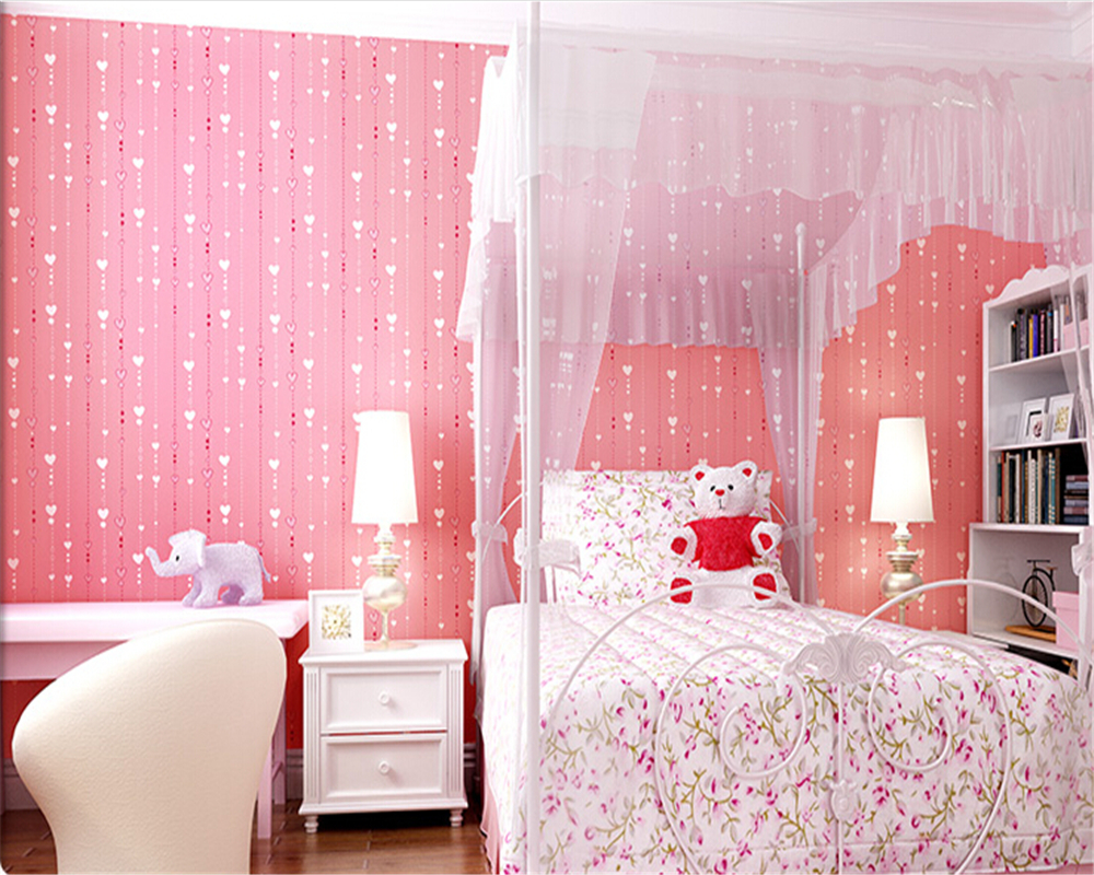 bedroom pink children wall background peach beibehang papel parede woven vertical non zoom wallpapers stripes stamp
