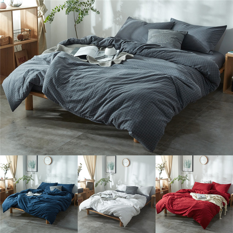 Japanese Style Washed Cotton Four Sets Bet Sets Lattice Cotton Quilt Home Bed Sheets Modern Duvet Cover ...