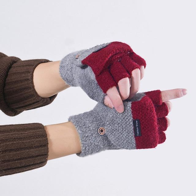 Knitted Fingerless Gloves Autumn Winter Warm 4