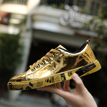 Men Women Unisex Golden Skateboarding Shoes High Top Sneakers Sports Shoes Hip Hop Walking Shoes Street Shoes Chaussure Homme image