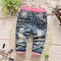 Spring Autumn Roupas Baby Girls Hole Vintage Bow Rabbit Washed Denim Jeans Full Length Pants Pantalones Kids Trousers S2753