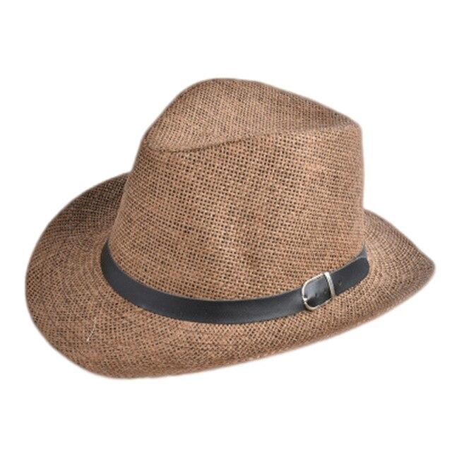 Unisex Pria Wanita Topi Jerami Topi Koboi Musim Panas Pantai Perjalanan  Sunhat dengan Sabuk Hitam Band 4d7e28210b