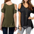 2016 new hot sexy fashion tops women V neck short sleeve cut out off the shoulder t shirt feminino tshirt loose Top summer lady
