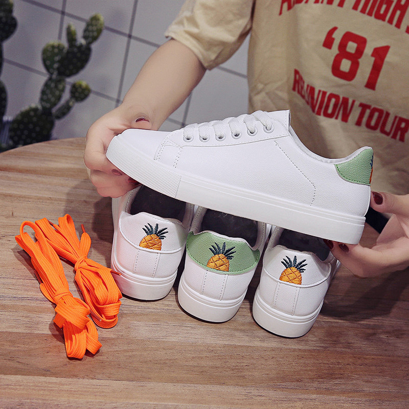 Women Shoes Sneakers Korean Version Of The Round Head Shallow Mouth Wild Student Board Shoes Pineapple Personality Women Shoes