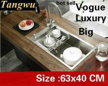 ¡Envío gratis! fregadero grande manual de cocina para el hogar, lavadero individual de verduras de lujo 304 de acero inoxidable, gran oferta 63x40 CM