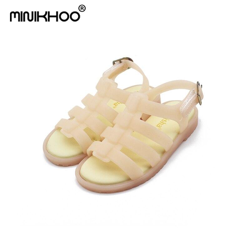 Mini Melissa 2018 New Girl Roman Shoes Jelly Sandals Children Sandals Jelly Shoes Sandals Breathable Melissa Girls Boy Sandals