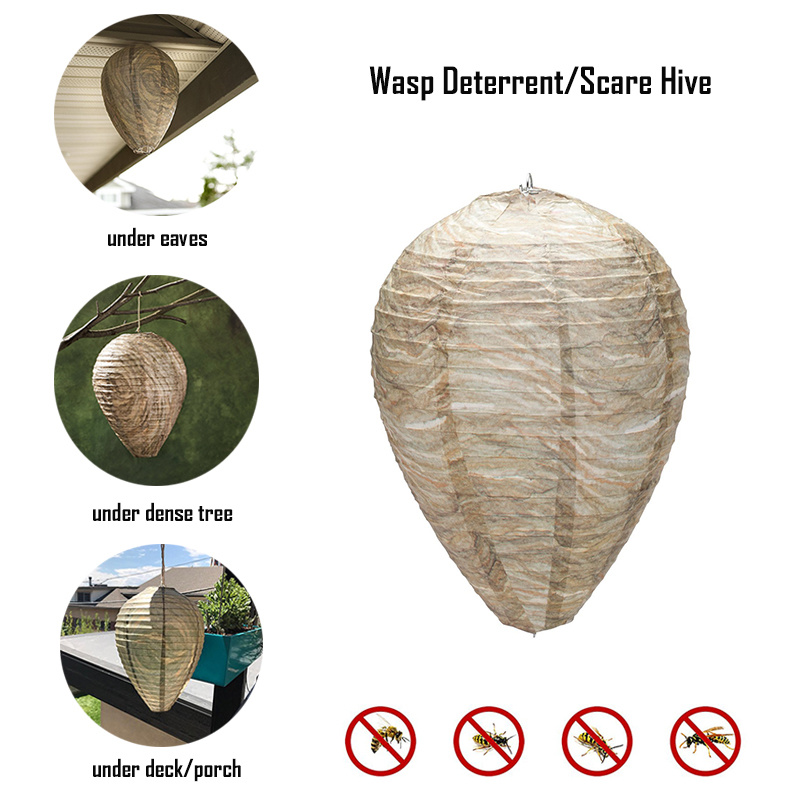 Effective Safe Non-Toxic Hanging Wasp Deterrent Flying Hanging Wasp Bee Trap Fly Insect Simulated Wasp Nest For Wasps Hornets