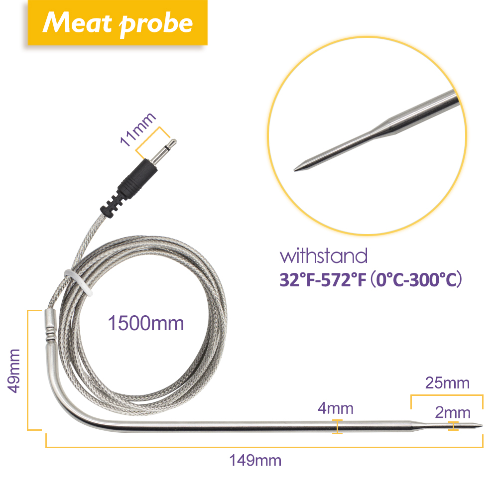 Image 3 - Inkbird IBT 4XS Digital Wireless Bluetooth Cooking Oven BBQ Grilling Thermometer With Two/Four Probe and USB rechargable battery-in Temperature Instruments from Tools