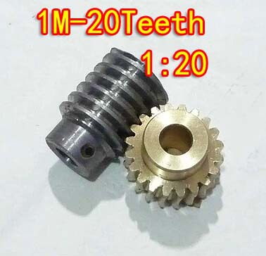 цена на 1M-20T Reduction Ratio:1:20 Copper Worm Gear Reducer Transmission Parts Gear Hole:5mm Rod Hole:5mm