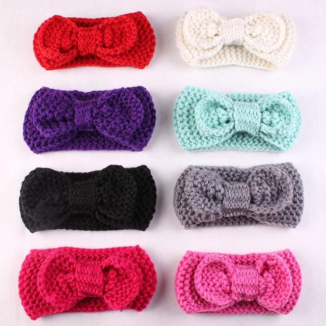 8 unids/lote bebé crochet turbante Headband warm Bandas para la ...