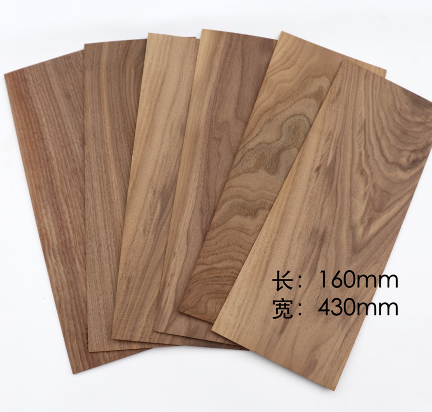 6Pieces/Lot 160x430mm Thickness:3mm Natural Black Walnut Wood Chips Veneer DIY Manual Building Model