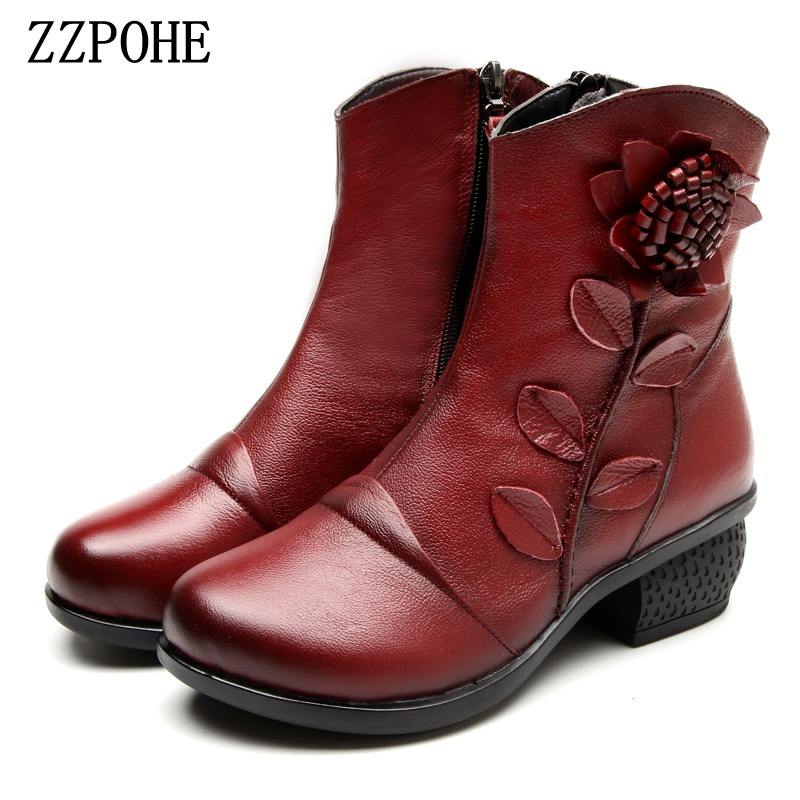 ZZPOHE Winter New Fashion Women Shoes Woman Flower Genuine Leather Ankle Boots Female Casual Soft Platform Vintage Ladies Boots front lace up casual ankle boots autumn vintage brown new booties flat genuine leather suede shoes round toe fall female fashion