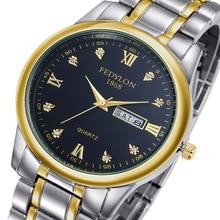 Top Brand Luxury Lovers' Couple Watches Men Date Waterproof Watch Women Gold Stainless Steel Quartz Wristwatch Montre Homme