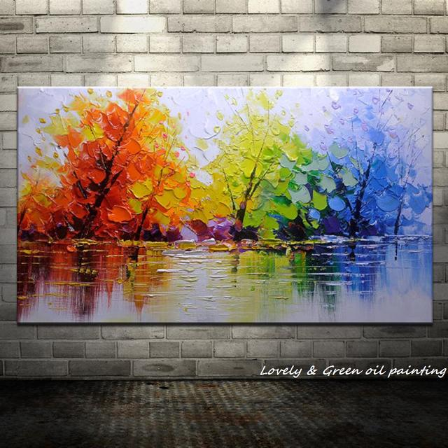 Handpainted Color Tree Knife Modern Oil Painting On Canvas