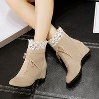 Boots children spring and autumn boots in the high fashion tide Martin boots suede high heel autumn and winter women's shoes.