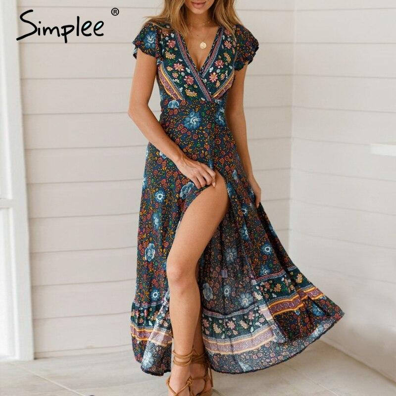 Simplee Vintage floral print summer dress Ruffle split sash sexy long dress Bohemian women dress holiday beach dress vestidos