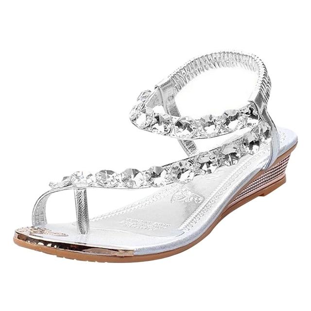 1 pair Womens Sandals Ladies Low Heel Sparkling Shoes Rhinestone Diamante Flip Flops Sliver 35
