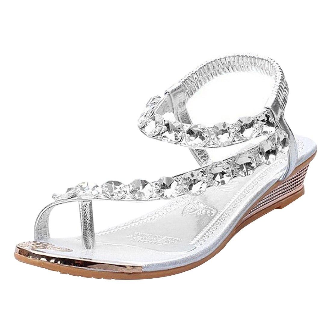 Womens sandals reviews - 1 Pair Womens Sandals Ladies Low Heel Sparkling Shoes Rhinestone Diamante Flip Flops Bling Beading Platform Wedges Sliver