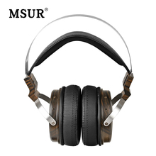 Cheaper MSUR N650 Wooden Metal Hifi Music DJ Headphone Headset Earphone With Beryllium Alloy Driver Portein Leather High Quality