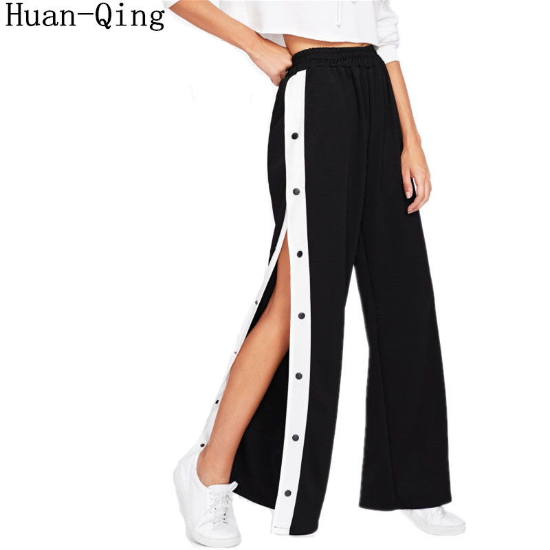 Sweatpants Women   Wide     Leg     Pants   Ladies Casual Elastic Waist High Waist   Pants   Sexy Loose Side Split Bottom Button Long Trousers