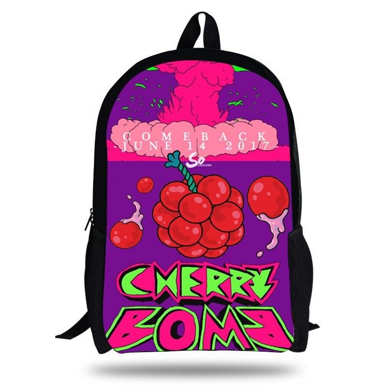 343f676cdac4 Корейский NCT группы Kpop обувь для мальчиков рюкзак подростков Cherry  бомбы живопись детей Shool сумки Kpop обувь девочек