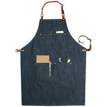 Blue Brown Denim Apron w/Leather Strap Barista Cafe Chef BBQ Baker Bartender Uniform Florist Barber Carpenter Work Wear XL K47